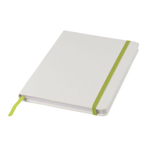 Spectrum weißes A5 Notizbuch mit farbigem Gummiband weiß-limettengrün | ohne Werbeanbringung | Nicht verfügbar | Nicht verfügbar | Nicht verfügbar